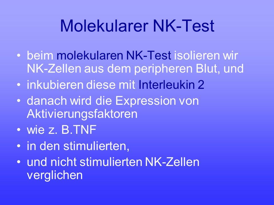 Molekularer NK-Test beim molekularen NK-Test isolieren wir NK-Zellen aus dem peripheren Blut, und. inkubieren diese mit Interleukin 2.