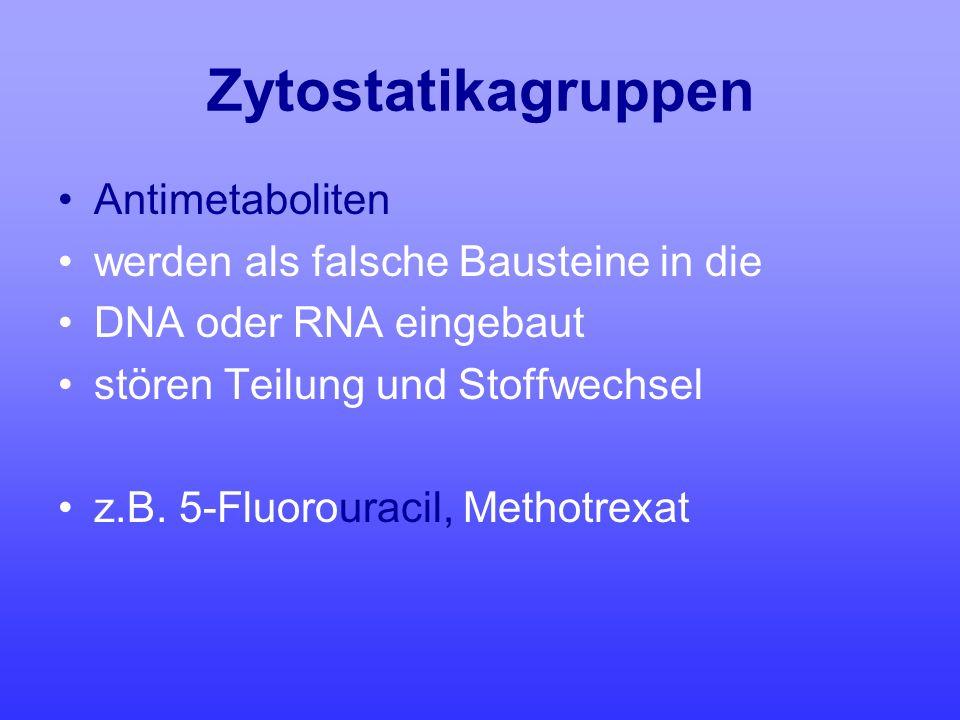 Zytostatikagruppen Antimetaboliten werden als falsche Bausteine in die