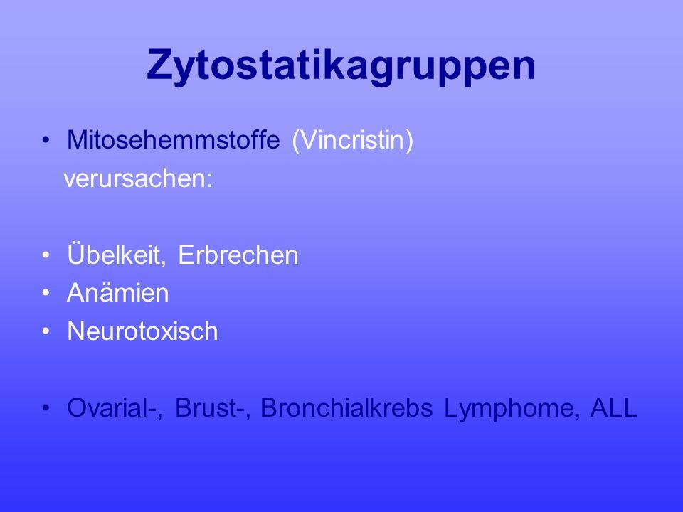 Zytostatikagruppen Mitosehemmstoffe (Vincristin) verursachen: