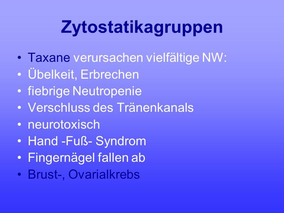 Zytostatikagruppen Taxane verursachen vielfältige NW: