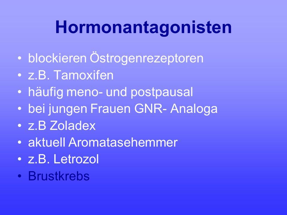 Hormonantagonisten blockieren Östrogenrezeptoren z.B. Tamoxifen