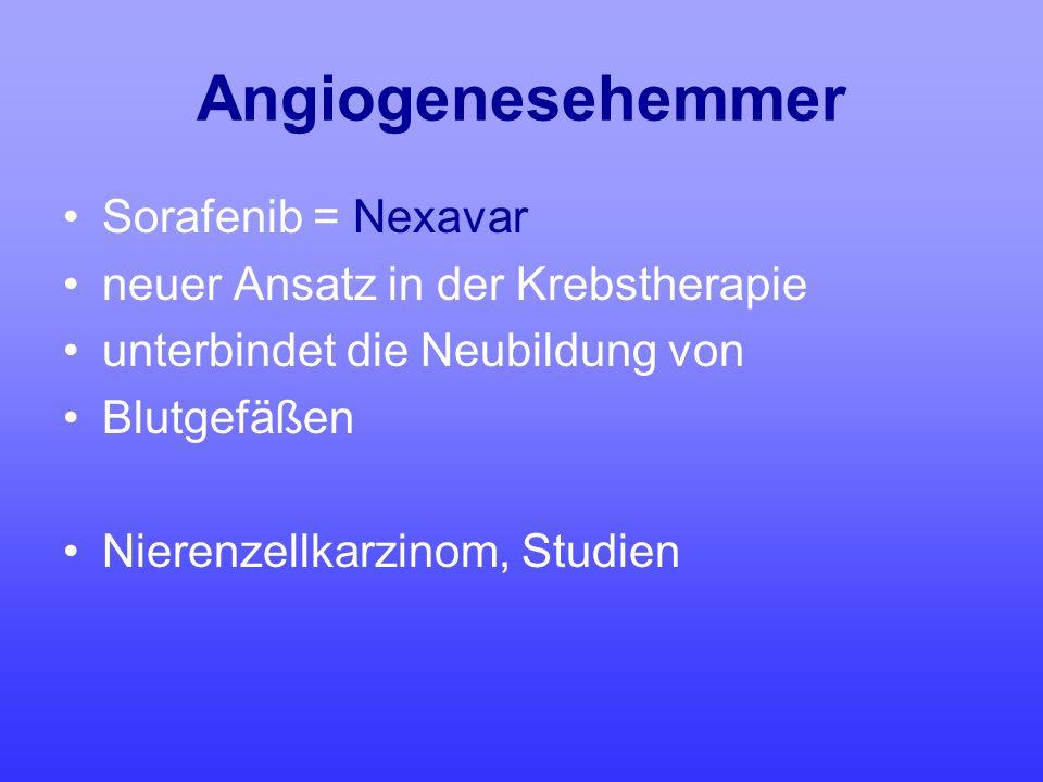 Angiogenesehemmer Sorafenib = Nexavar
