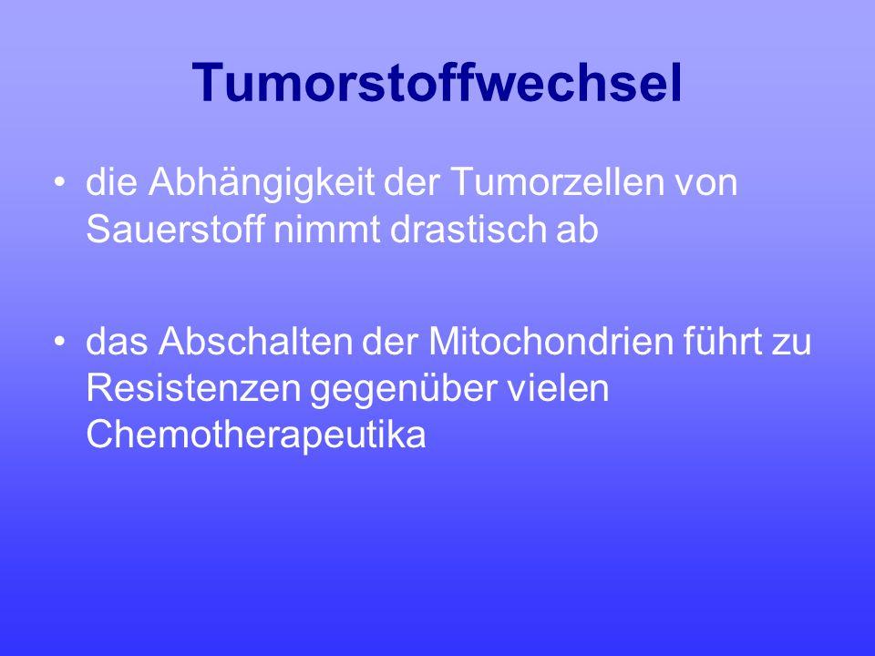 Tumorstoffwechsel die Abhängigkeit der Tumorzellen von Sauerstoff nimmt drastisch ab.