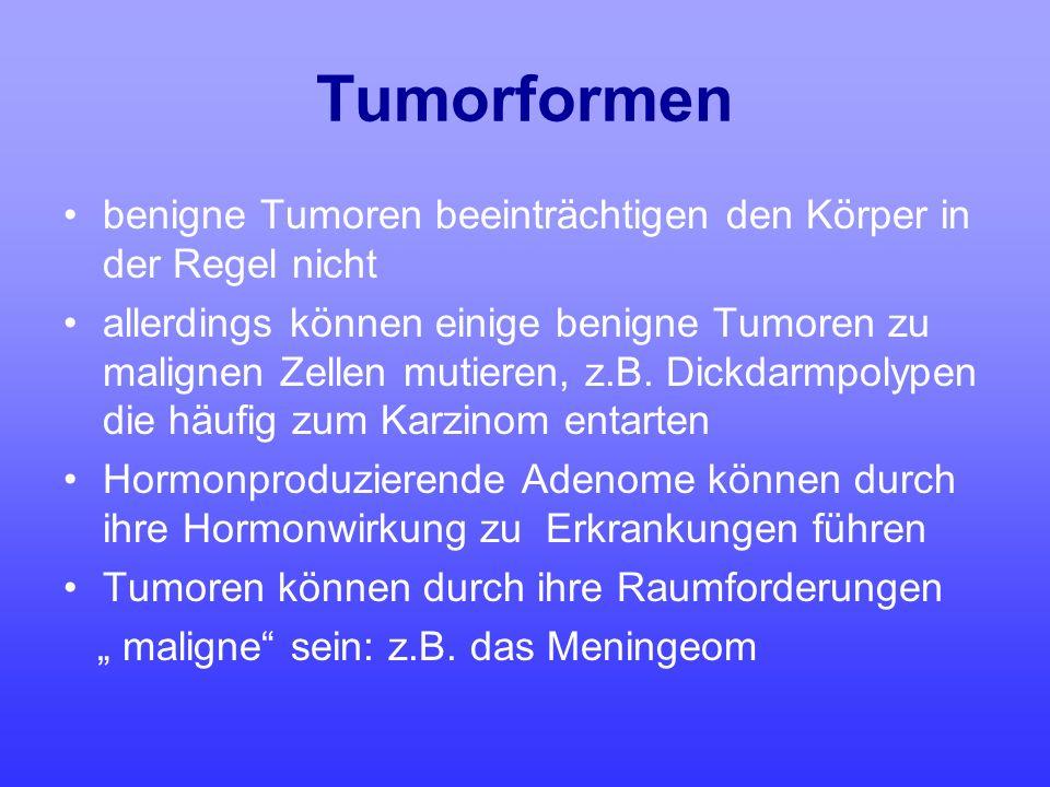 Tumorformen benigne Tumoren beeinträchtigen den Körper in der Regel nicht.