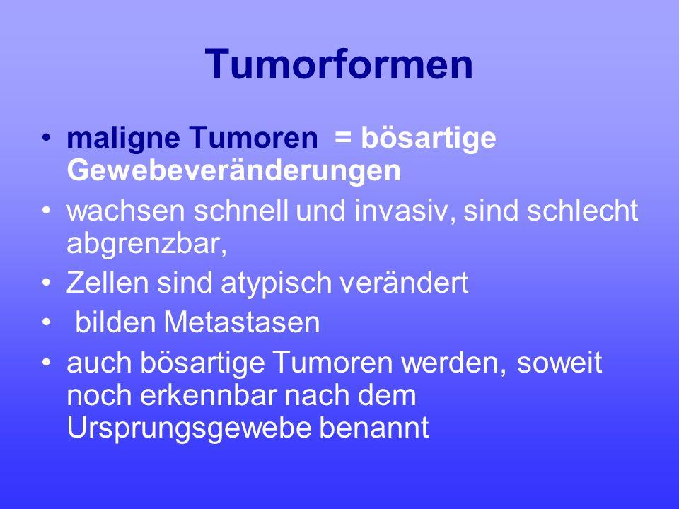 Tumorformen maligne Tumoren = bösartige Gewebeveränderungen