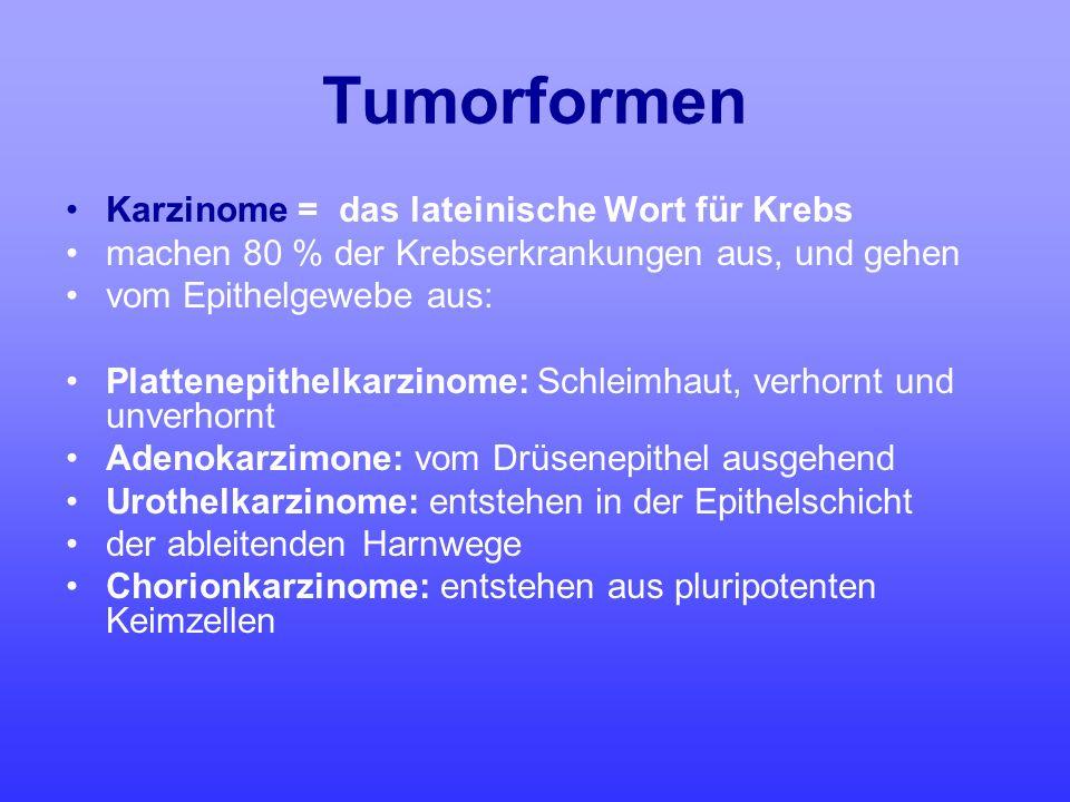 Tumorformen Karzinome = das lateinische Wort für Krebs