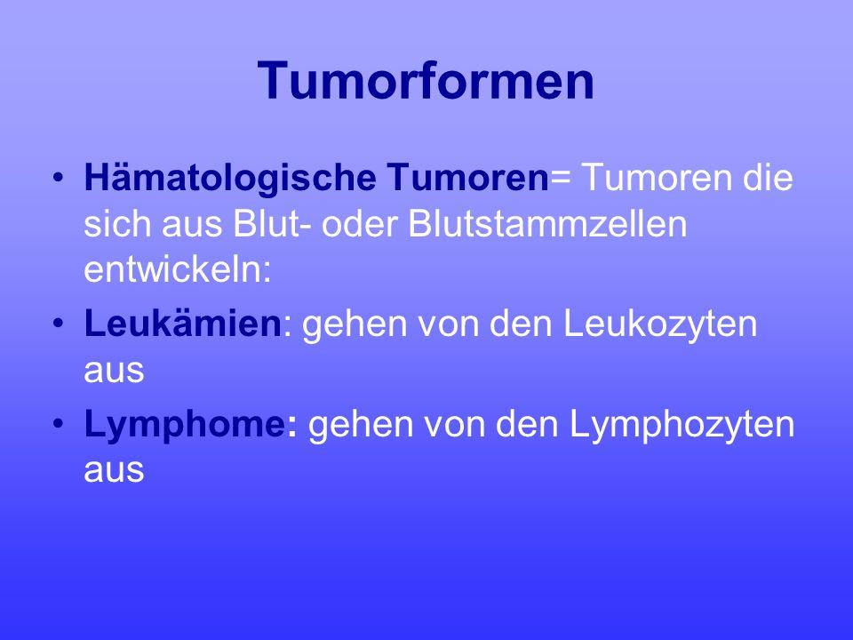 Tumorformen Hämatologische Tumoren= Tumoren die sich aus Blut- oder Blutstammzellen entwickeln: Leukämien: gehen von den Leukozyten aus.
