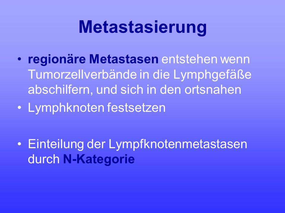 Metastasierung regionäre Metastasen entstehen wenn Tumorzellverbände in die Lymphgefäße abschilfern, und sich in den ortsnahen.