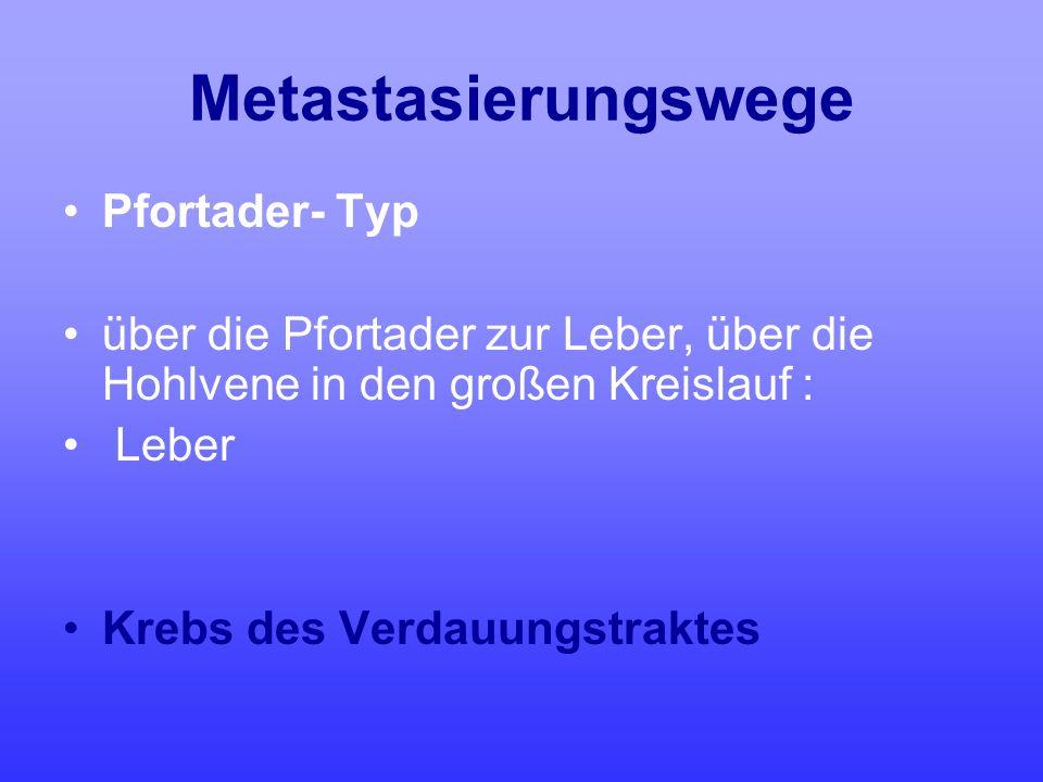 Metastasierungswege Pfortader- Typ