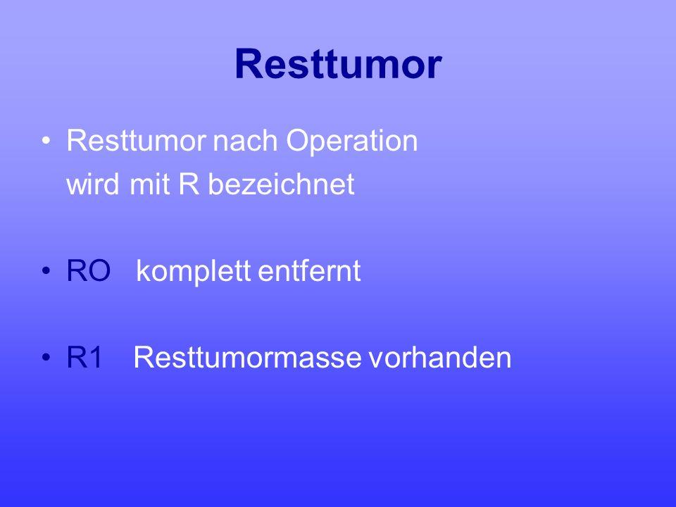 Resttumor Resttumor nach Operation wird mit R bezeichnet