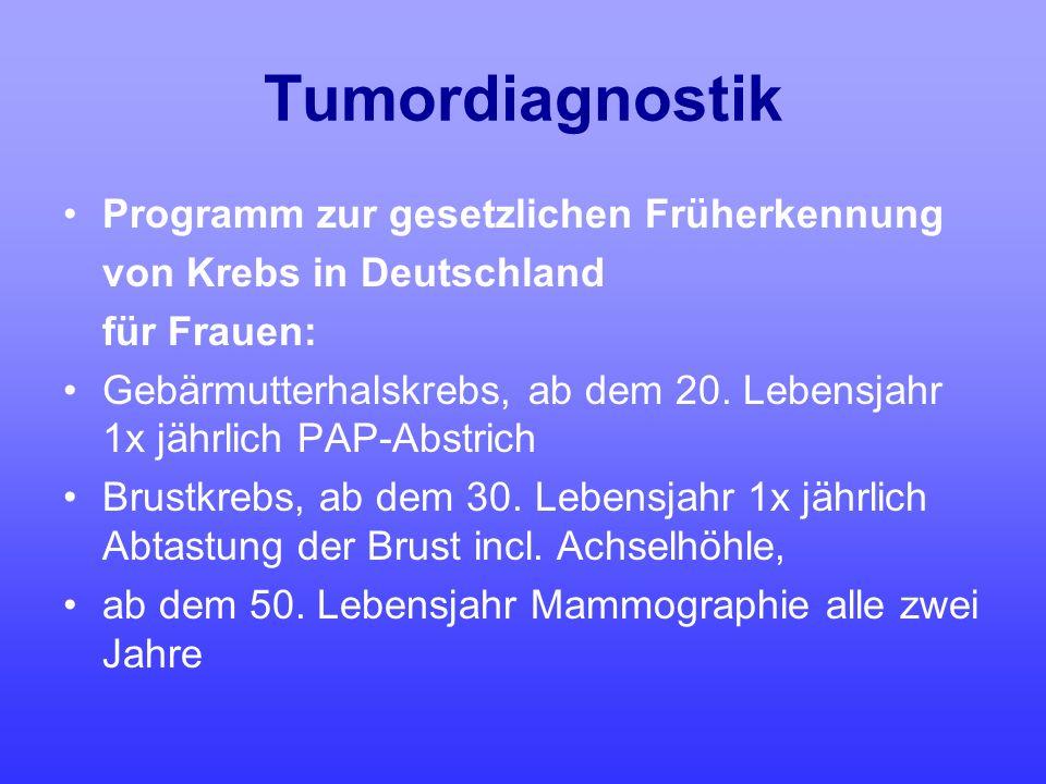 Tumordiagnostik Programm zur gesetzlichen Früherkennung