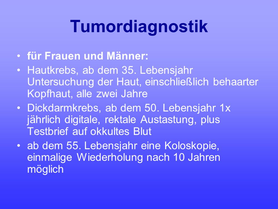 Tumordiagnostik für Frauen und Männer: