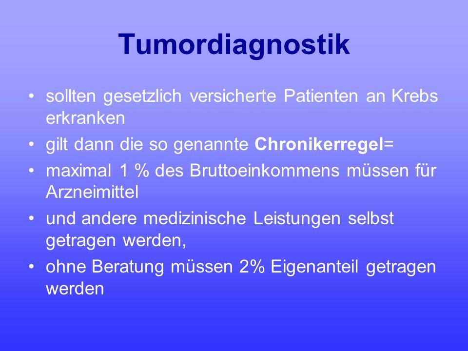 Tumordiagnostik sollten gesetzlich versicherte Patienten an Krebs erkranken. gilt dann die so genannte Chronikerregel=