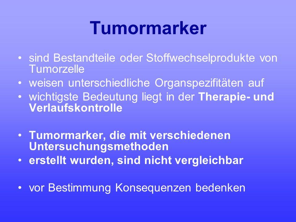 Tumormarker sind Bestandteile oder Stoffwechselprodukte von Tumorzelle