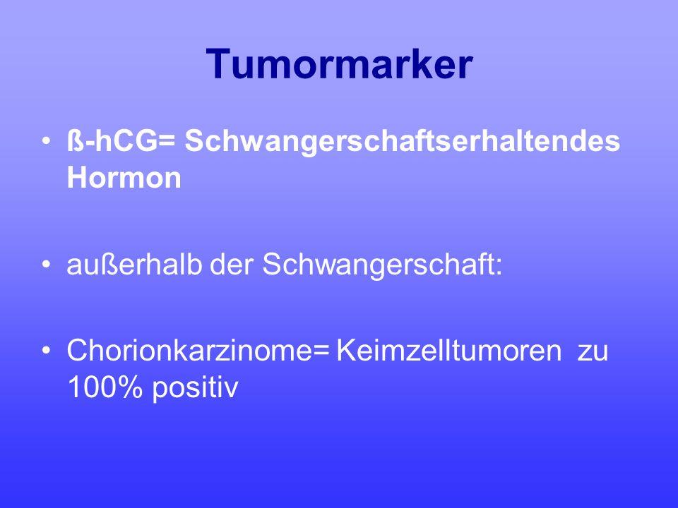 Tumormarker ß-hCG= Schwangerschaftserhaltendes Hormon