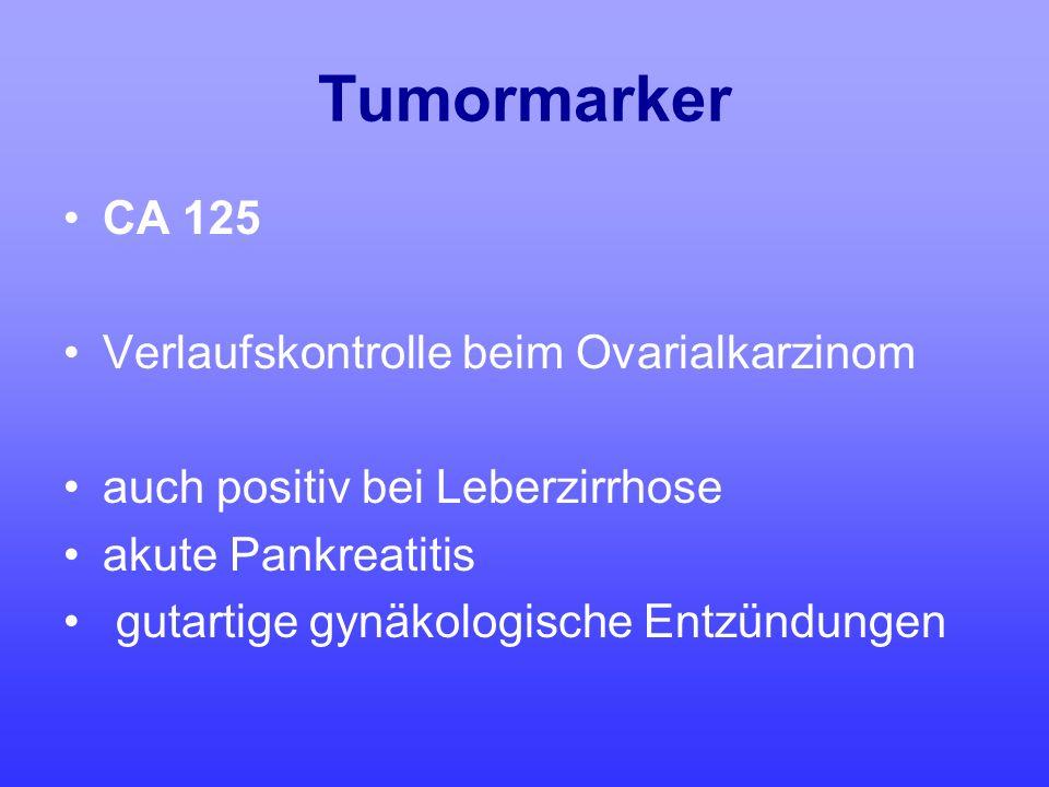 Tumormarker CA 125 Verlaufskontrolle beim Ovarialkarzinom
