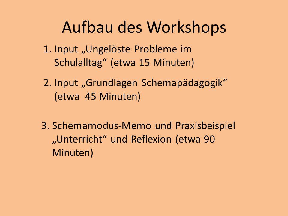 """Aufbau des Workshops 1. Input """"Ungelöste Probleme im Schulalltag (etwa 15 Minuten) 2. Input """"Grundlagen Schemapädagogik (etwa 45 Minuten)"""