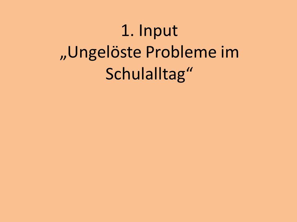 """1. Input """"Ungelöste Probleme im Schulalltag"""