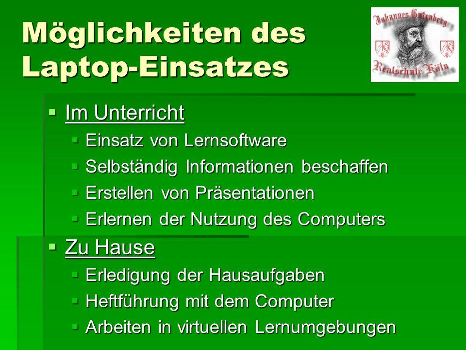 Möglichkeiten des Laptop-Einsatzes