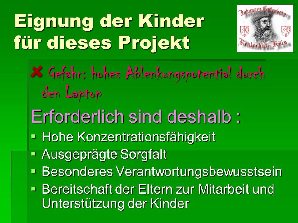 Eignung der Kinder für dieses Projekt