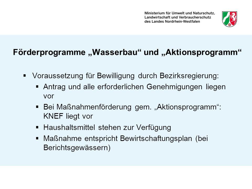 """Förderprogramme """"Wasserbau und """"Aktionsprogramm"""