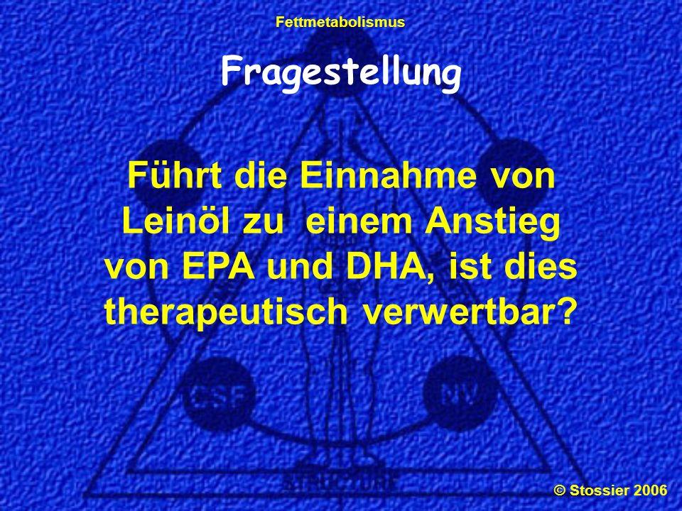 Fragestellung Führt die Einnahme von Leinöl zu einem Anstieg von EPA und DHA, ist dies therapeutisch verwertbar