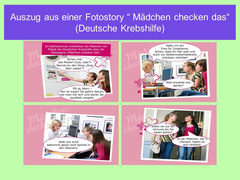 Auszug aus einer Fotostory Mädchen checken das (Deutsche Krebshilfe)