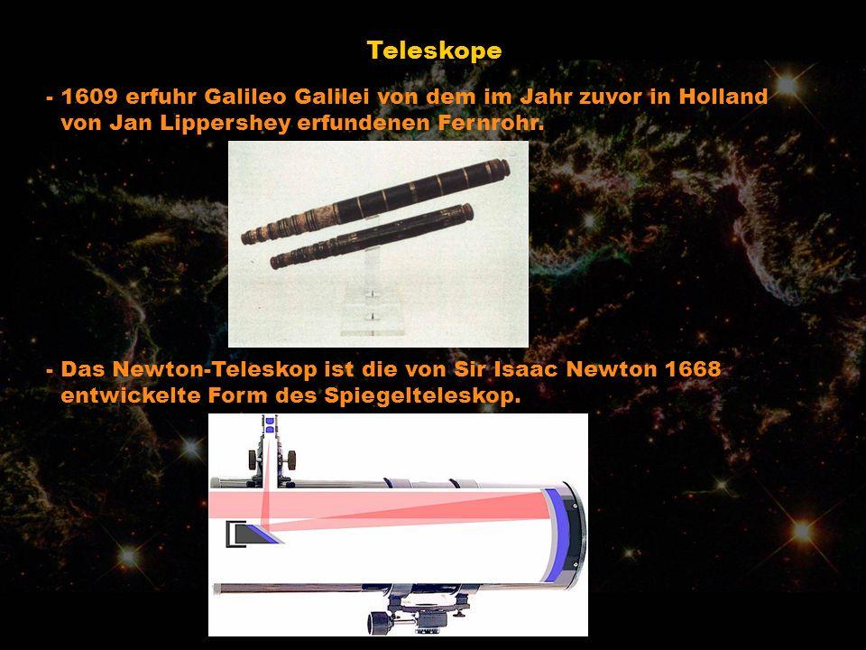 Teleskope - 1609 erfuhr Galileo Galilei von dem im Jahr zuvor in Holland. von Jan Lippershey erfundenen Fernrohr.