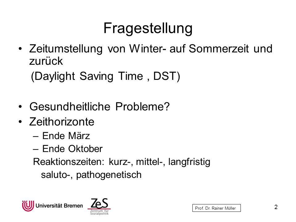 Fragestellung Zeitumstellung von Winter- auf Sommerzeit und zurück