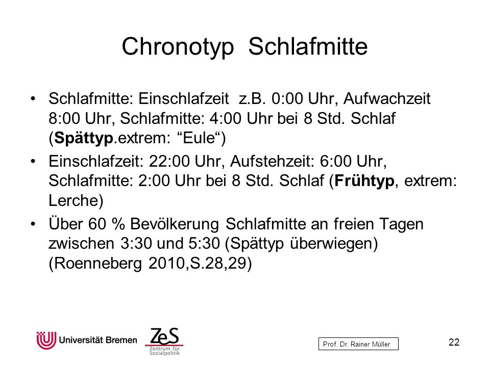 Chronotyp Schlafmitte