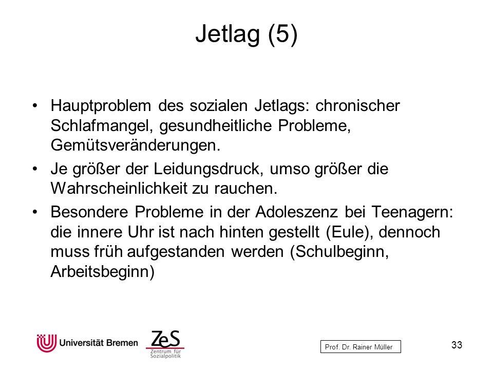Jetlag (5) Hauptproblem des sozialen Jetlags: chronischer Schlafmangel, gesundheitliche Probleme, Gemütsveränderungen.