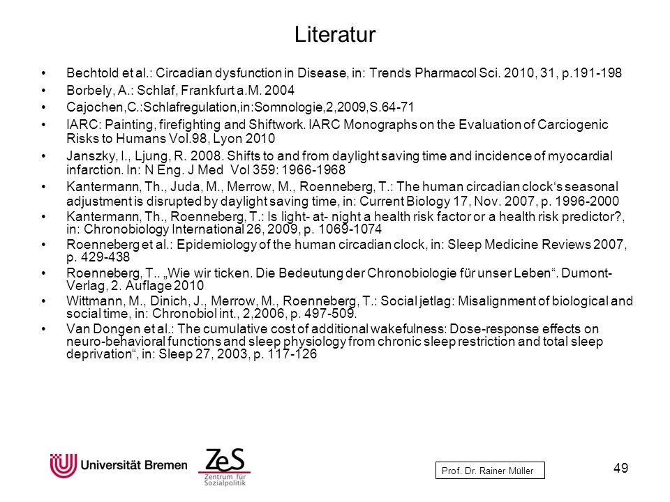 Literatur Bechtold et al.: Circadian dysfunction in Disease, in: Trends Pharmacol Sci. 2010, 31, p.191-198.