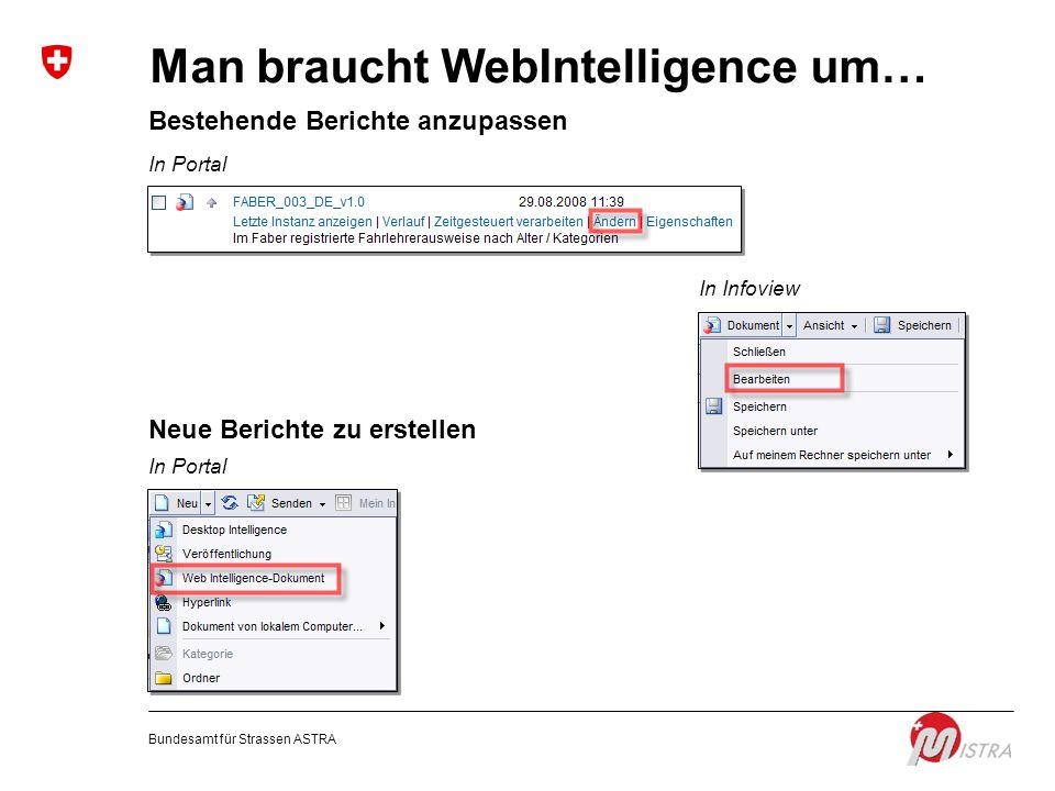 Man braucht WebIntelligence um…