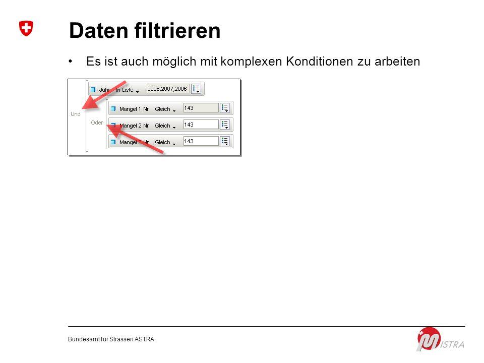 Daten filtrieren Es ist auch möglich mit komplexen Konditionen zu arbeiten