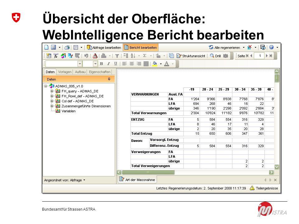 Übersicht der Oberfläche: WebIntelligence Bericht bearbeiten