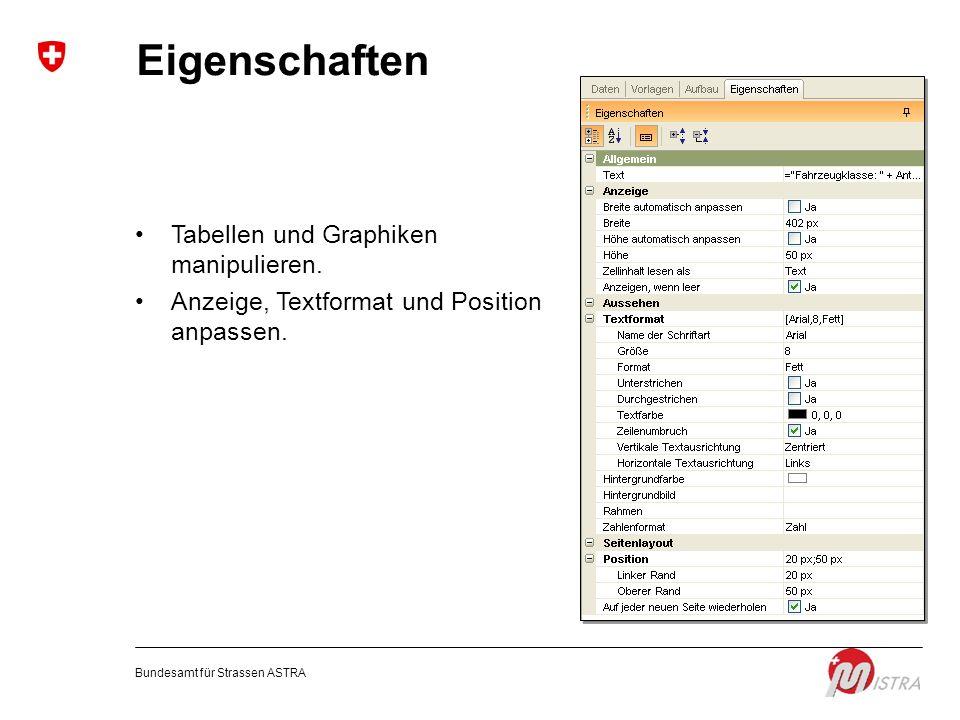 Eigenschaften Tabellen und Graphiken manipulieren.