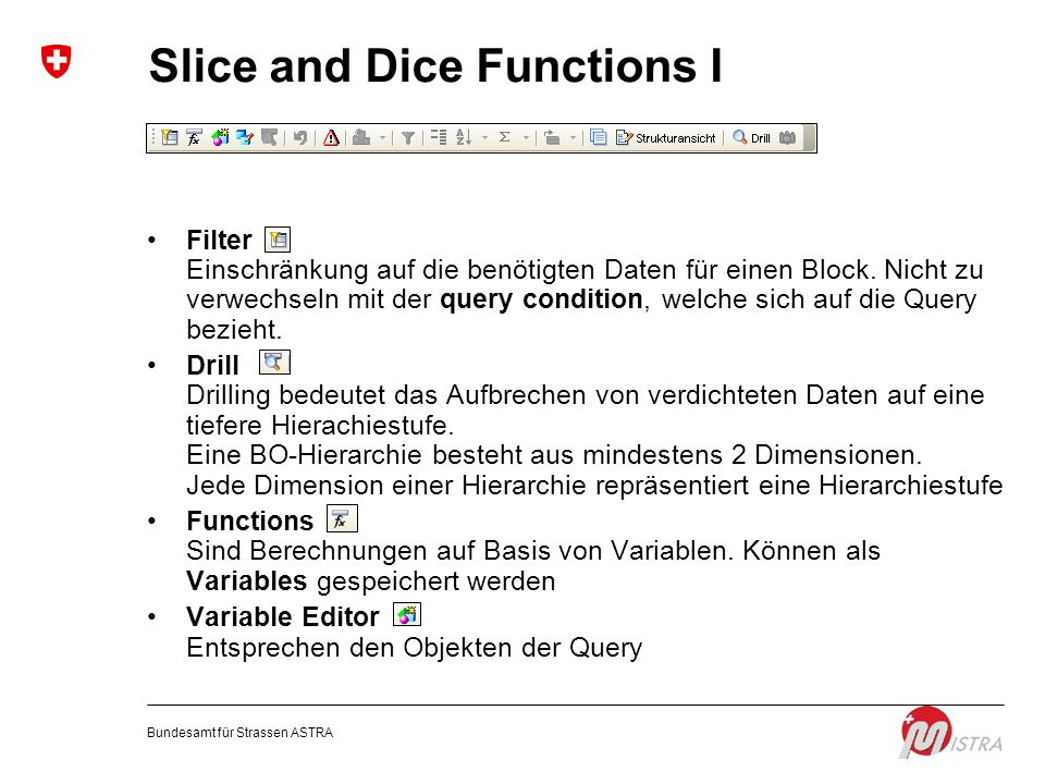 Slice and Dice Functions I