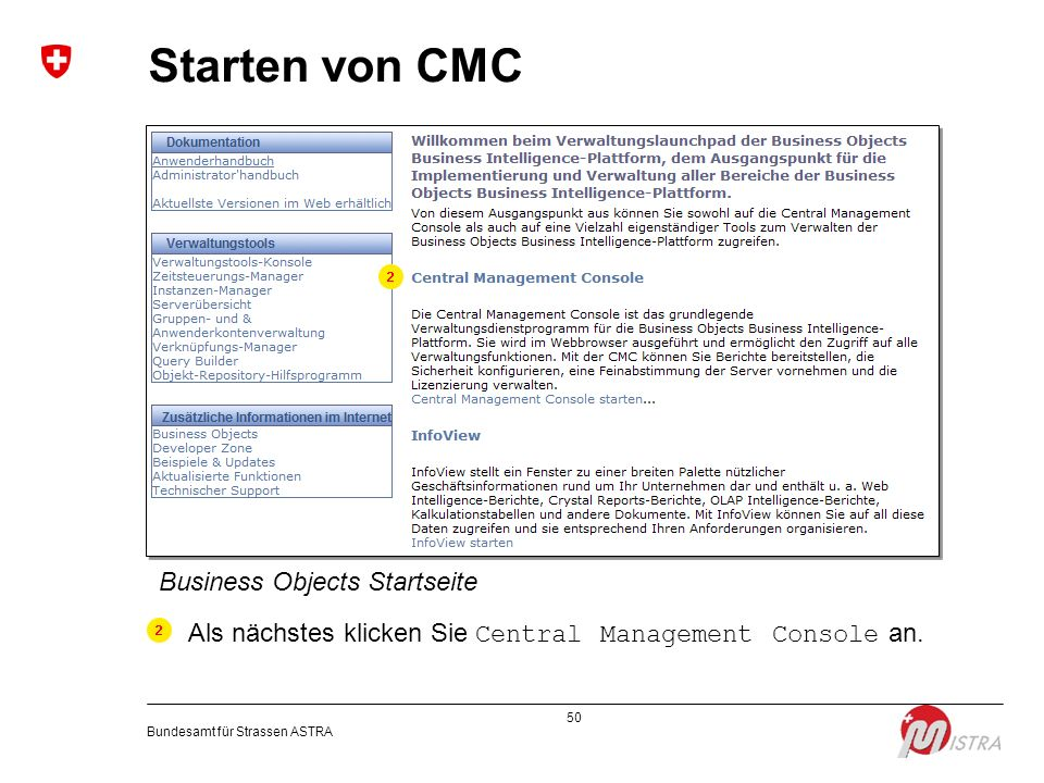 Starten von CMC Business Objects Startseite