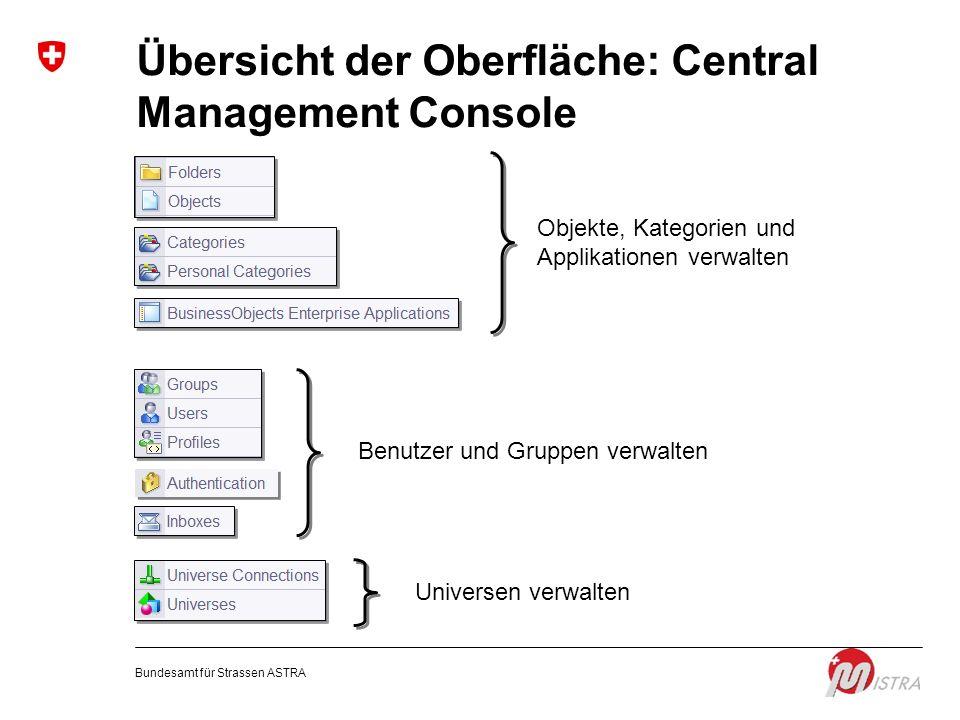 Übersicht der Oberfläche: Central Management Console