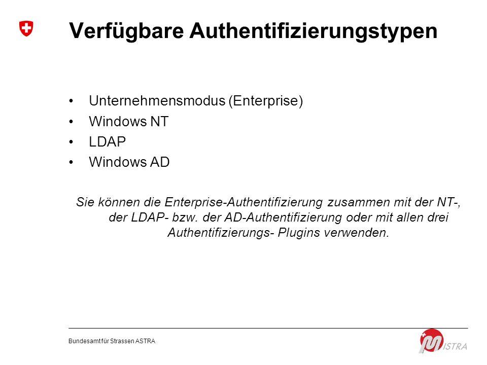 Verfügbare Authentifizierungstypen