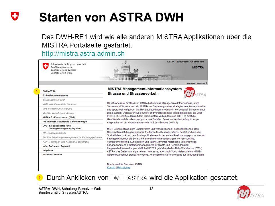 Durch Anklicken von DWH ASTRA wird die Applikation gestartet.