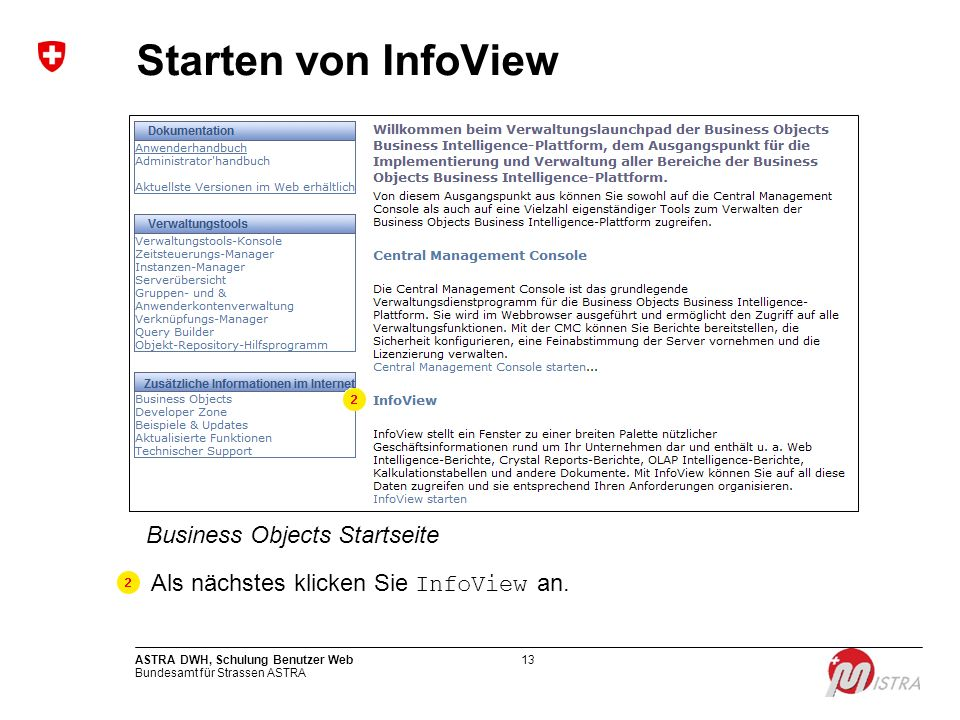 Starten von InfoView Business Objects Startseite