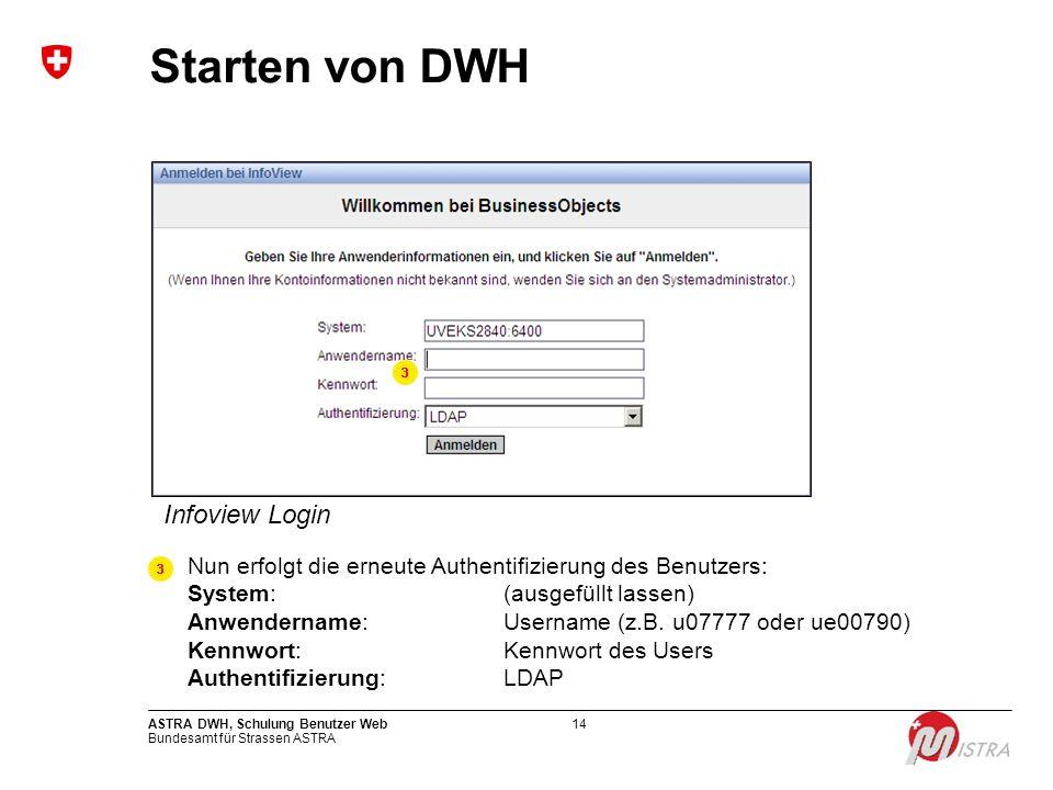 Starten von DWH Infoview Login