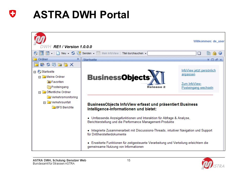 ASTRA DWH Portal ASTRA DWH, Schulung Benutzer Web