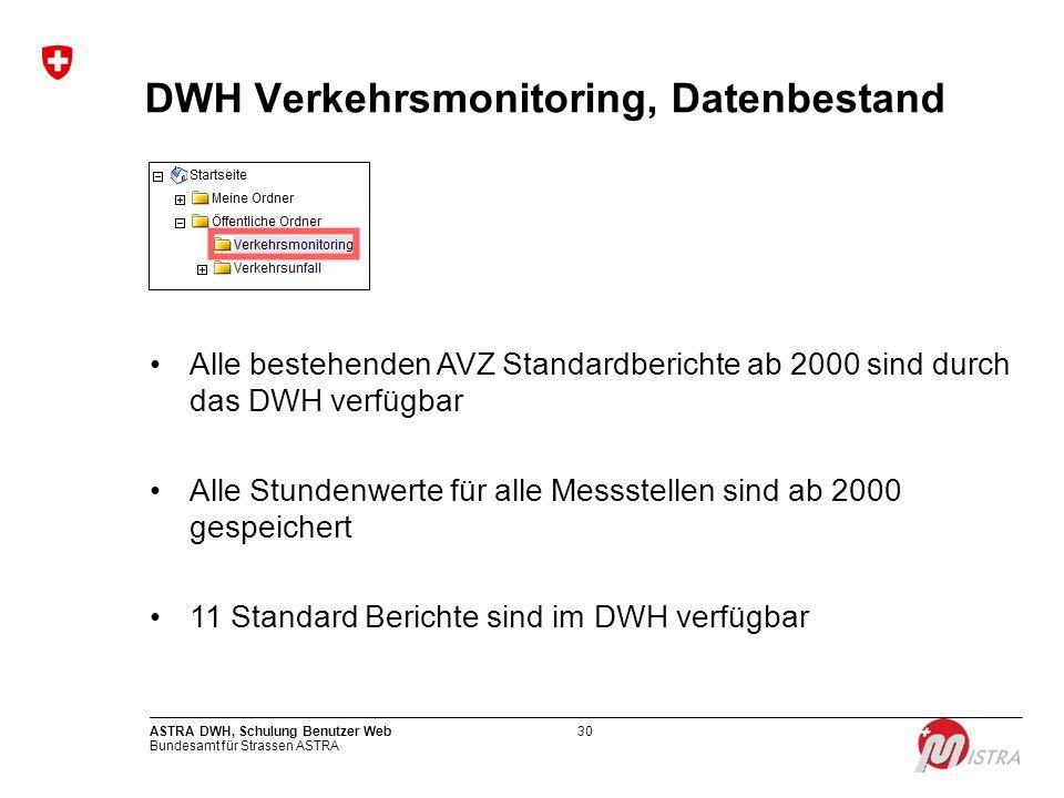 DWH Verkehrsmonitoring, Datenbestand