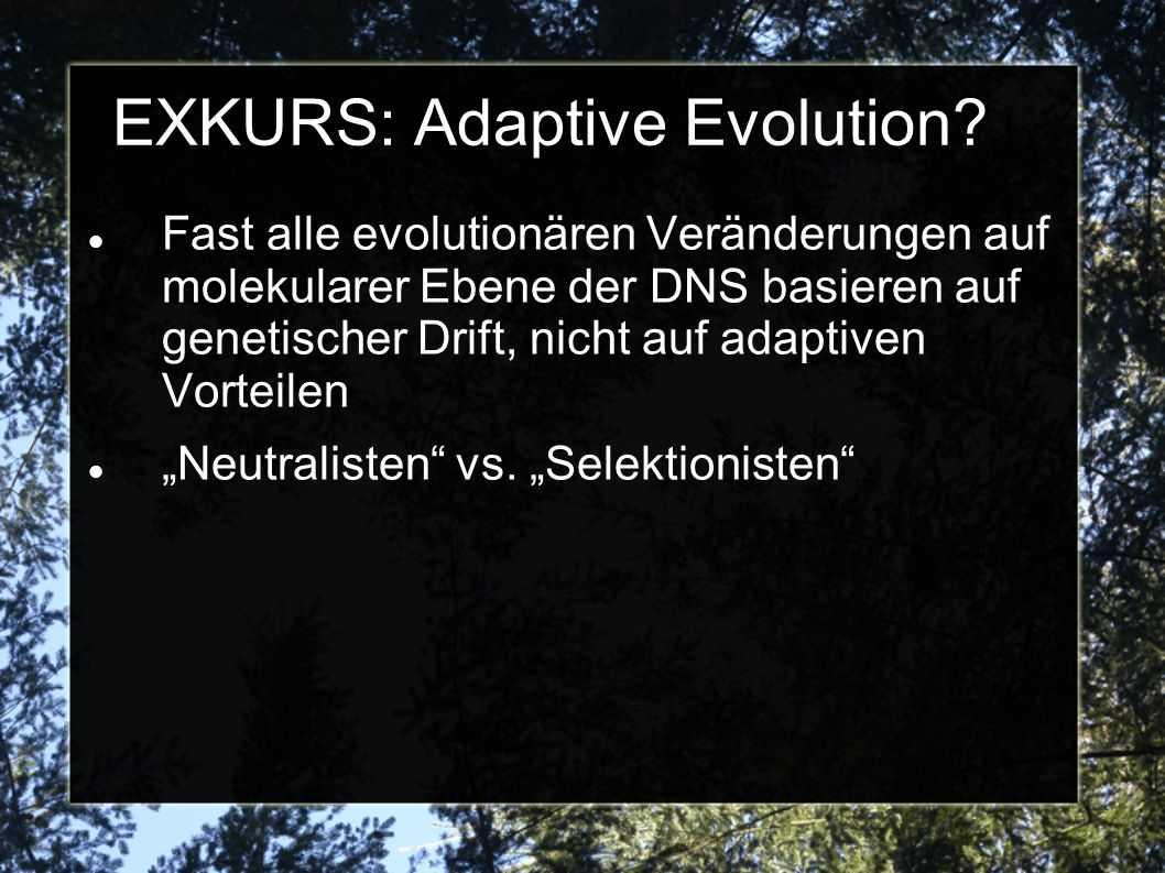EXKURS: Adaptive Evolution