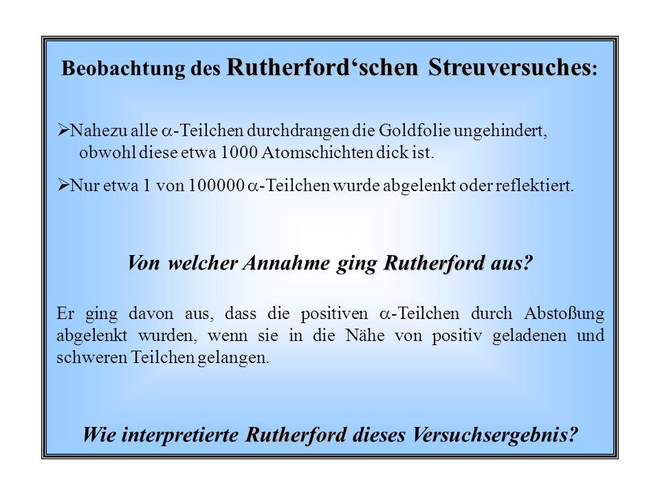 Beobachtung des Rutherford'schen Streuversuches: