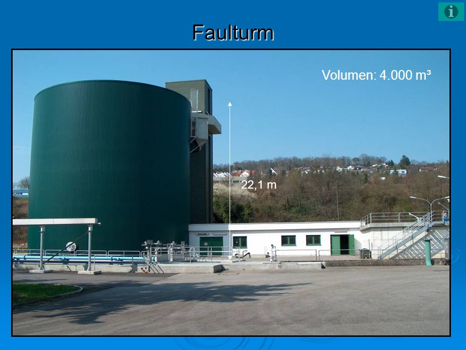 Faulturm Volumen: 4.000 m³ 22,1 m