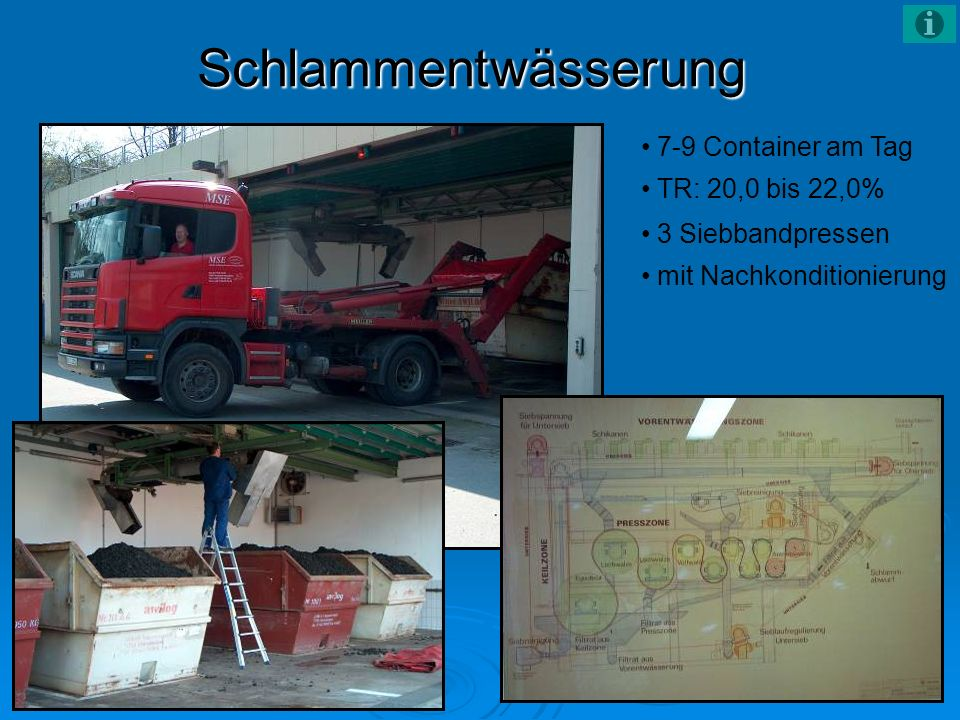 Schlammentwässerung 7-9 Container am Tag TR: 20,0 bis 22,0%