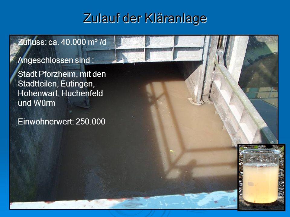 Zulauf der Kläranlage Zufluss: ca. 40.000 m³ /d Angeschlossen sind :